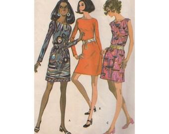 Mod Dress in 3 Versions Vintage 1960s Sewing Pattern McCalls 2220 Bust 34/Drop Shoulder/Sleeveless or Long Slim Sleeve/Step by Step