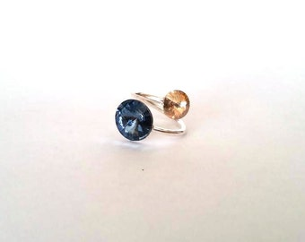 Sterling silver ring,  swarovski ring, Adjustable ring, Gift for women, blue swarovski, Statement ring