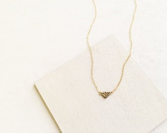 Triangle Pendant Necklace - Delicate Gold-Filled Chain With Tiny Beaded Charm