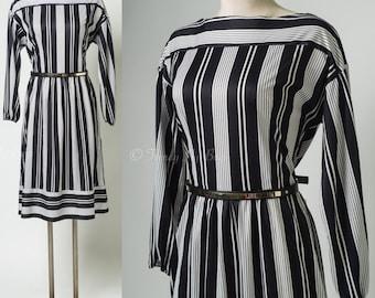 Vintage Black Dress, Vintage Black Stripe Dress, Vintage 70s Dress, Vintage Secretary Dress, Vintage stripe dress - M/L