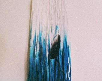 Teal Gradient Dreamcatcher - Small Dream Catcher - Boho Modern Wall Decor - Gypsy Bedroom - Dip Dye Dreamcatcher - Bohemian Decor