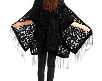 Black Burn Out Devore Velvet Kimono - Nigth