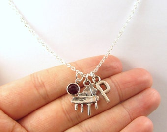 Piano Necklace- choose a birthstone and initial, Piano Jewelry, Piano Gift, Personalized Piano, Music Necklace, Music Jewelry, Piano Charm