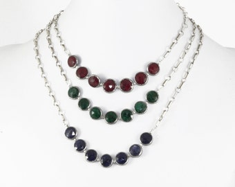 Ruby Statement Necklace Sterling Silver Red Ruby Necklace Precious Gemstone Genuine Ruby Jewelry BZ-N-109-Ruby/s