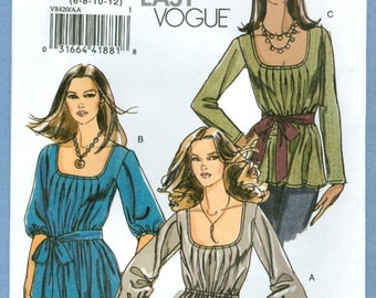 2007 Misses' Loose-Fitting Tunic Top and Sash UC FF Size 6,8,10,12 - Very Easy Vogue Sewing Pattern 8420