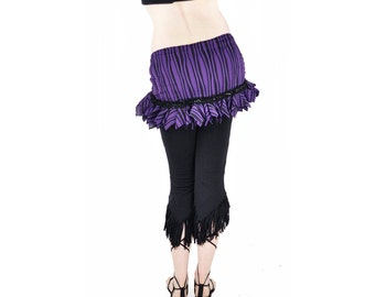 Belly Dance Hip Scarf  Hip Wrap - Purple Wavy Stripe - tribal fusion