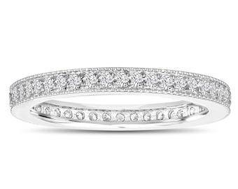 Diamond Eternity Ring, Womens Wedding Band, Anniversary Ring, Stackable Ring 0.45 Carat 14k White Gold Pave Milgrain Handmade