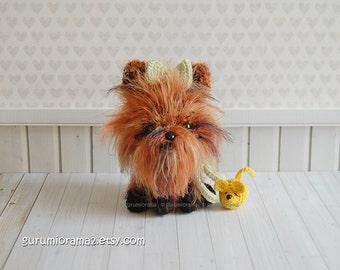 kawaii yorkie, amigurumi fuzzy dog, crochet brown puppy stuffed plush aminal, mini yellow mouse