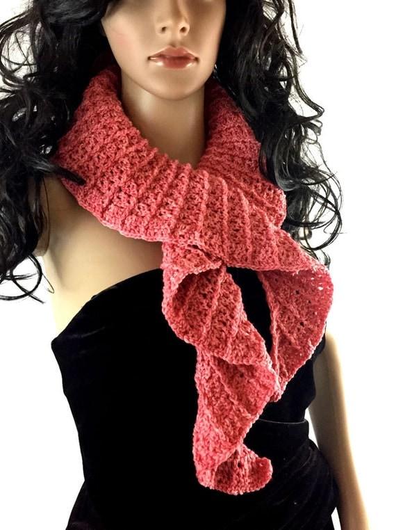 Outlander Coral Frill Scarf Diana Gabaldon Crocheted Neckwarmer
