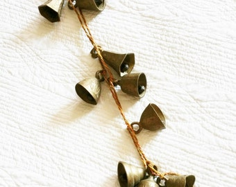 Vintage Eclectic Filigree Detailed Brass Bells on Silk Cording, Olives and Doves