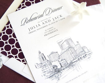 Providence Skyline Rehearsal Dinner Invitations (set of 25 cards)