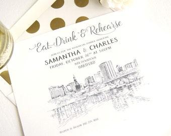 Hartford, Conneticut Skyline Weddings Rehearsal Dinner Invitations (set of 25 cards)