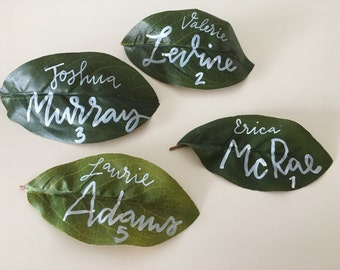 Artificial Green Leaves Escort Card | Garden Wedding, Escort Cards, Place Cards, Seating Cards