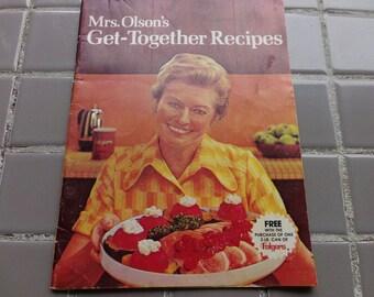 Mrs. Olson's Get-Together Recipes, 1973 prop, Vintage cook book, 1973 Graphics magazine, 1973 cookbook