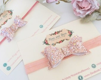 Swan Princess Glitter Bow Stretch Baby Girl/ Headband in Sizes Newborn-Adult or Crocodile Clip. Small or Large Bow