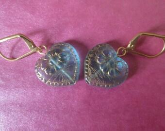 Hint of Blue Heart Earrings
