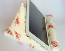 Tablet pillow, iPad stand, Laura Ashley bibi rose floral fabric, iPhone stand, iPod holder, kindle e-reader pilllow, gadget cushion