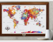 Grateful Dead WORLD Travel Map.  Custom 24x36 Travel Map, Grateful Dead Art Work,  OPTIONS for Foam Board and/or Framing.Map 702