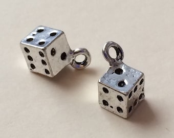 Two 3-D Silver Dice Charms