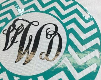 Monogram Vinyl Decal, Monogram Sticker, Chevron Decal, Personalized Vinyl Decal, Vinyl Monogram,Circle Monogram-Car Decal,Monogram Car Decal