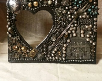 Gothic Picture Frame Embellished with Jewelry and Found Treasures