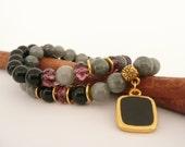 Gemstone Bracelets, Jade Bead Bracelet, Onyx Bead Bracelet, 2 Stretch Bracelets, Bracelets for Women