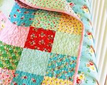 Floral Baby Girl Bedding, Toddler Girl Bedding, Floral Quilt, Crib Bedding Set, Backyard Roses, Riley Blake Fabric, Riley Blake Bedding