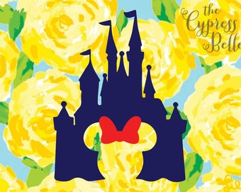 Disney Castle Vinyl Decal with Minnie Mouse Cut Out - Disney Castle Decal - Cinderella Castle Decal - Disney Car Decal - Magic Band Decal
