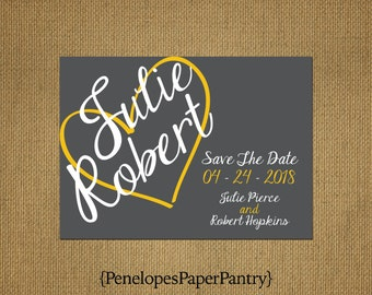 Fun Spring Save The Date Card, Slate Gray,Yellow Heart Design, White Text, Unique, Bright,Customizable & Includes White Envelopes