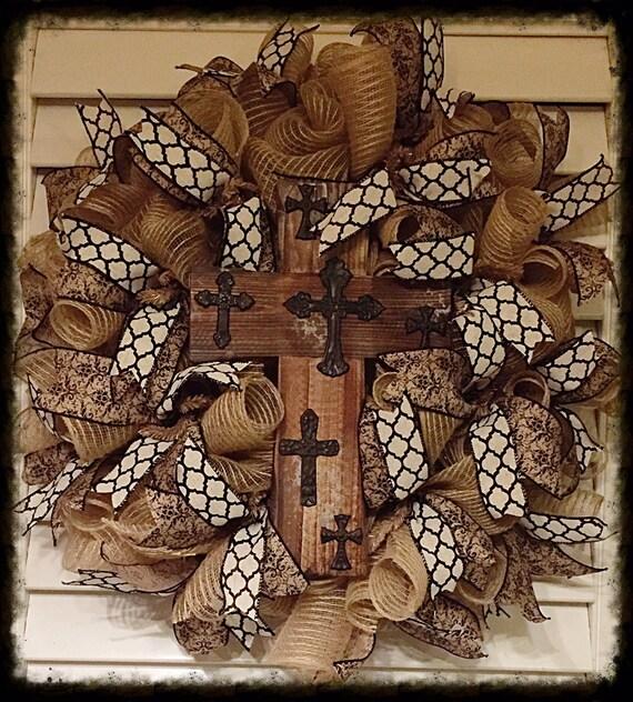 Burlap mesh wreath w wood cross centerpiece by