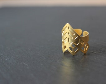 Ring Edmée gold gilded brass fine art deco geometric adjustable