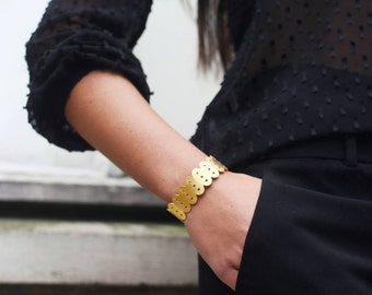 Brass gilded end ALMA Bangle Bracelet