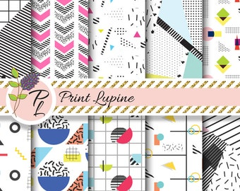 Memphis digital paper set. Memphis 80's style abstract geometry shapes. Memphis 1980 patterns background. Circles, checkered, triangles.