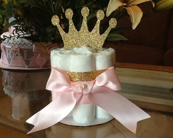 Princess mini diaper cake/Pink and gold mini diaper cake/Pink and gold Princess baby shower centerpiece