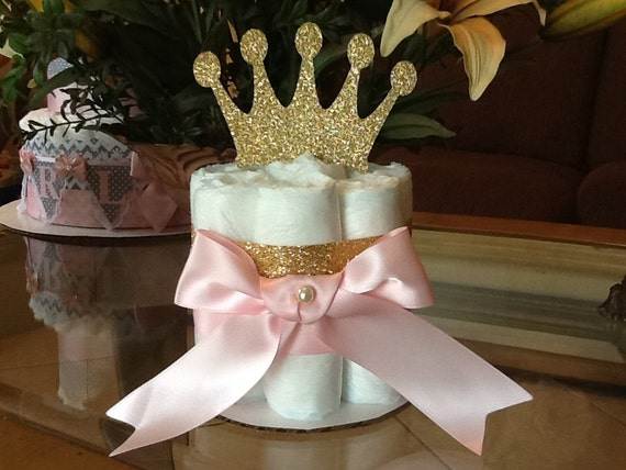 Princess mini diaper cake pink and gold
