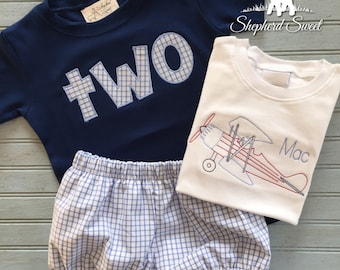 TWO shirt and Vintage Airplane with Bubble Bloomers Set - 3 Pieces