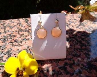 Gold Earrings with Moonstone, 585 gold filled, beautiful!