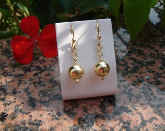 Gold Earrings, 585 gold filled with ball, elegant and shiny