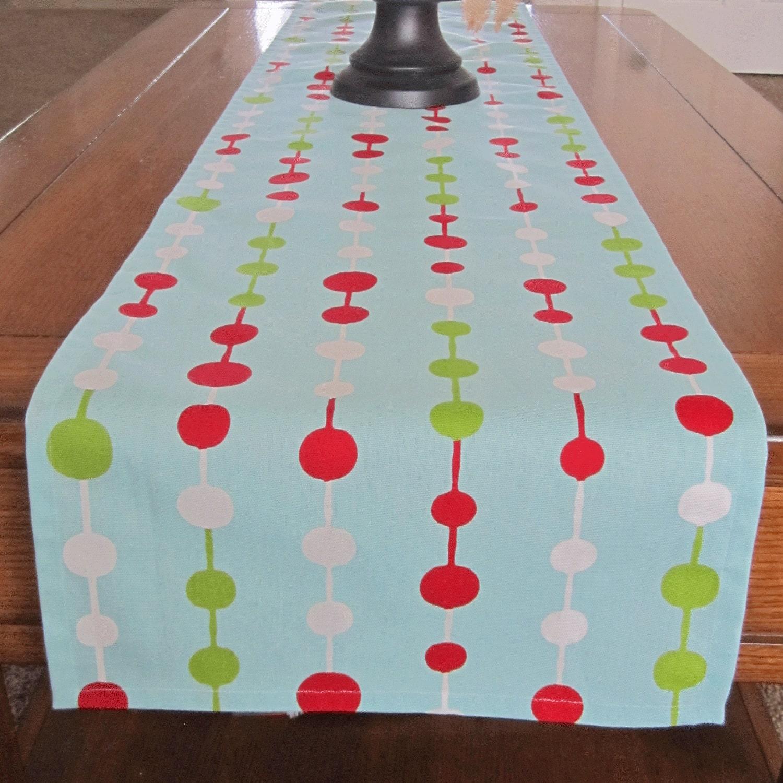 Holiday table runner christmas table runner blue aqua for 120 table runner christmas