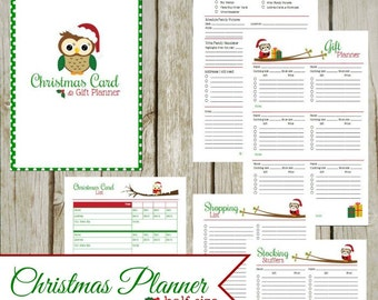 Christmas Card & Gift Planner, Half-size: Instant Download