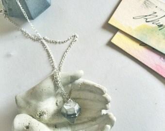 Mini Marbled Colored Concrete Diamond Silver Chain