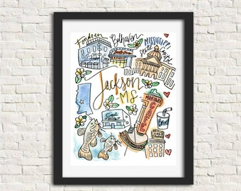 Jackson, Mississippi City Illustration Wall Art Print 8 x 10