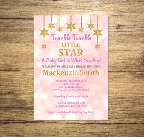 Twinkle Twinkle Little Star Invitation First Any Age 1st