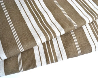 "Huge Length of Antique French Mattress Ticking Cloth Stripe Fabric Material 149"" x 39"""