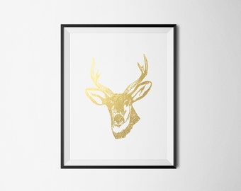 Deer Head/Antlers Foil Print REAL FOIL