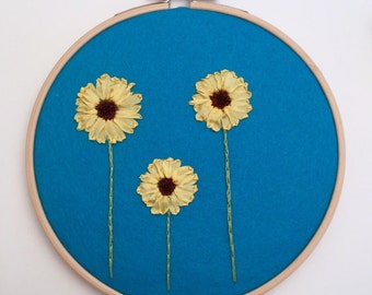 Sunflower Art, Hand Embroidery Hoop Art, Nursery Art, Sunflower Embroidery Hoop, Sunflower Gift, Flower Hoop Art, Flower Embroidery Hoop Art