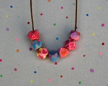 handmade handpainted wood woodbead statement geometric colourful funky boho cute unique painted bead abstract watercolour necklace