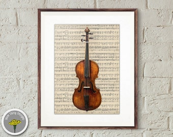 "Violin Art Print, 8x10"", Printable, Sheet Music, Instant Download, Poster, PERSONAL USE ONLY"