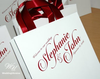 25 Welcome Bags with satin ribbon and names - Wedding gift Bags - Welcome to Our Wedding Custom Personalized Wedding Gift bag