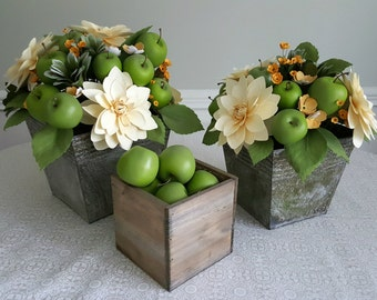 Handmade Paper Dahlia & Apple Arrangement